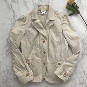 Ann Taylor LOFT petite beige button up blazer 8P